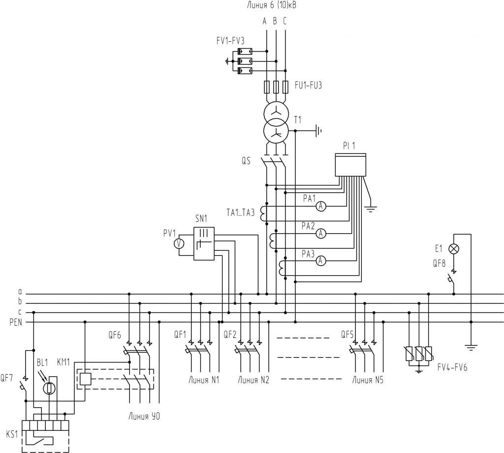 Принципиальная-электрическая-схема-для-киосковой-КТП-2-типоисполнения