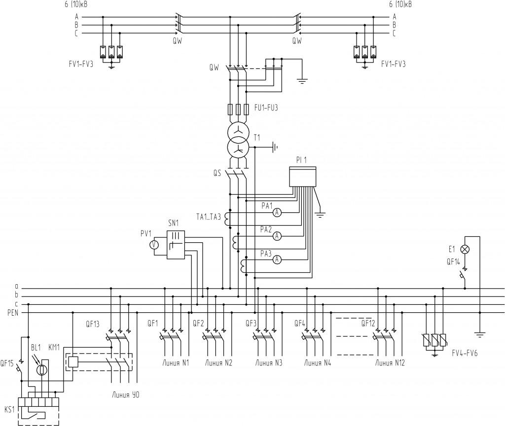 Схема-КТП-1000-кВА-проходного-типа