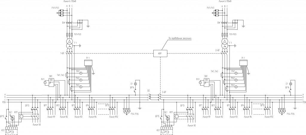 Схема-электрическая-принципиальная-для-2КТП-8-типоисполнения