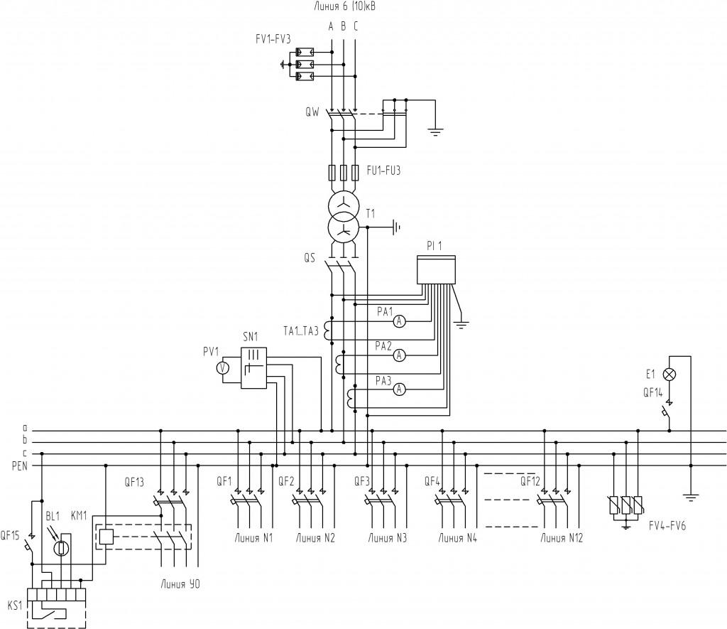 Схема-электрическая-принципиальная-для-КТП-1000-кВА-тупикового-типа-со-встроенным-коммутационным-аппаратом